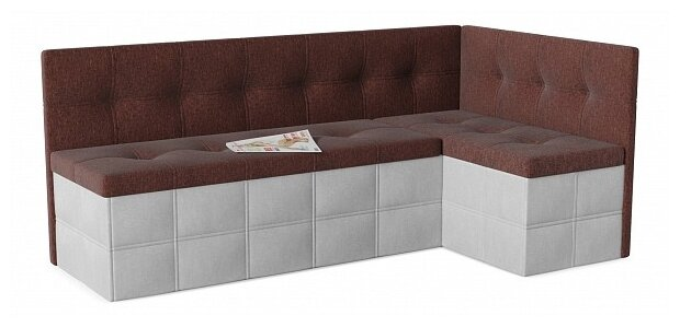 Кухонный диван SMART Домино правый коричневый/белый