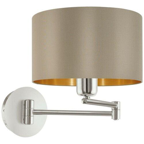 бра eglo maserlo 95055 Бра Eglo Maserlo 95055, E27, 60 Вт, кол-во ламп: 1 шт., цвет арматуры: никель, цвет плафона: серый