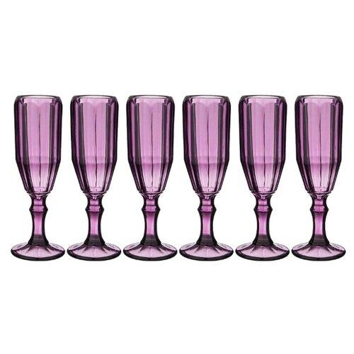 Lefard Набор бокалов для шампанского Muza Color Рока 6 шт. 150 мл фиолетовый