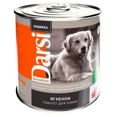 Фото - Влажный корм для собак Darsi паштет, при чувствительном пищеварении, ягненок 850 г darsi active dog для активных взрослых собак паштет с сердцем и печенью 850 гр