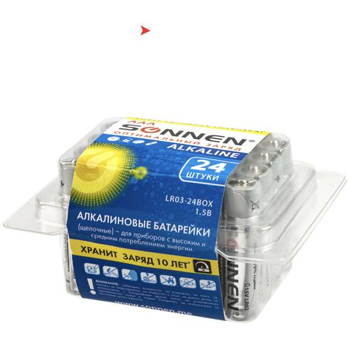 Батарейки КОМПЛЕКТ 24 шт, SONNEN Alkaline, ААА (LR03, 24А), алкалиновые, мизинчиковые, короб