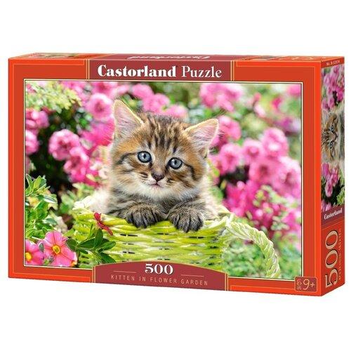 Пазл Castorland Kitten in flower garden (B-52974), 500 дет. пазл castorland pup in pink flowers b 52233 500 дет