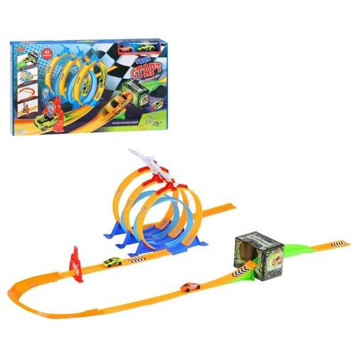 Детский игровой трек, 2 инерционных машинки, 43 элемента, трасса с поворотом и гоночными петлями, в/к 60,5х33,5х6 см