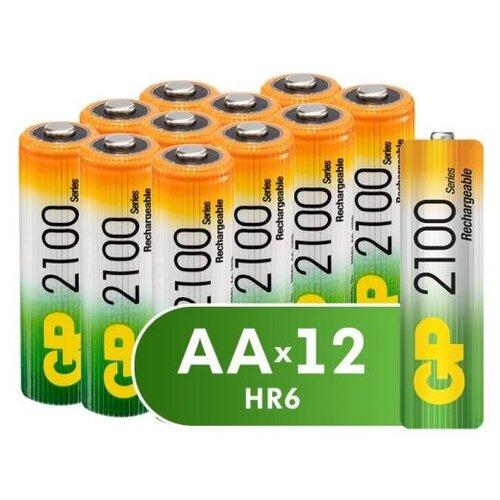 Фото - Аккумулятор Ni-Mh 2100 мА·ч GP Rechargeable 2100 Series AA, 12 шт. аккумулятор ni mh 1000 ма·ч smartbuy rechargeable aa 2 шт