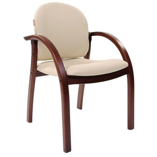 Конференц-кресло Chairman экокожа бежевая матовая/темный орех (6090266)