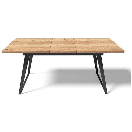 EVITA/Стол обеденный Кёльн столешница Дуб Галифакс,ноги чёрные, раздвижной 140*80/ стол для кухни/стол в столовую/ стол обеденный раздвижной/стол серый/ стол на металлических ногах