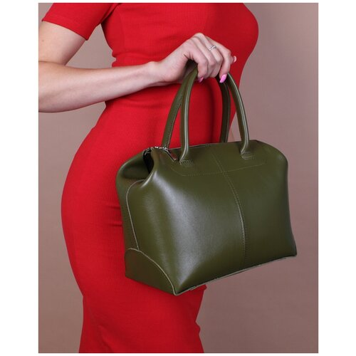 Женская кожаная сумка саквояж-трансформер хаки A020 khaki mini Divalli