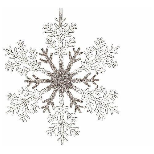 Снежинка хрупкая нежность, акрил, прозрачная с глиттером, 21 см, Kaemingk 515419