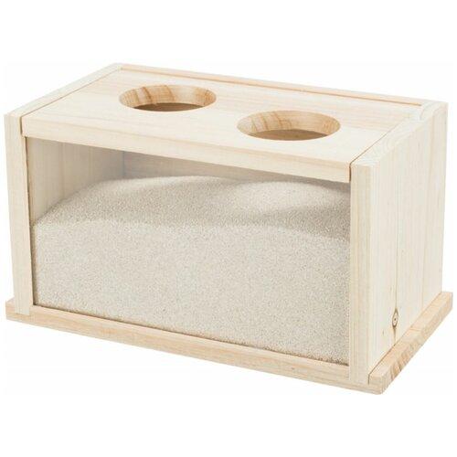 Купалка для хомяков и мышей, дерево, 22 х 12 х 12 см, Trixie (ванночка для животных, 63004)