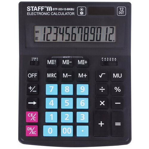 Калькулятор бухгалтерский STAFF Plus STF-333-12 черно-синий