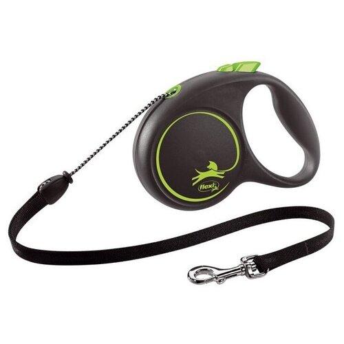 Фото - Поводок-рулетка для собак Flexi Black Design M тросовый черный/зеленый 5 м поводок рулетка для собак flexi black design m ленточный зеленый 5 м