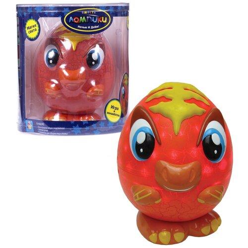 Фото - Ночник 1 TOY Лампики Динозавр Т16362 (банка), цвет арматуры: оранжевый, цвет плафона: разноцветный ночник 1 toy лампики попугай т16360 коробка
