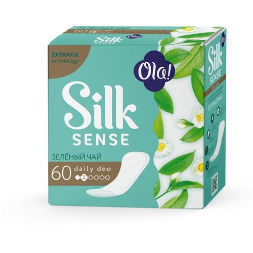 Ola! прокладки ежедневные Silk Sense Daily Deo Зеленый чай, 2 капли, 60 шт.