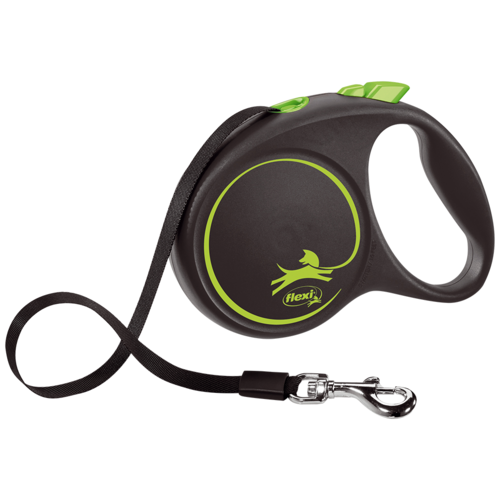 Фото - Поводок-рулетка для собак Flexi Black Design S ленточный черный/зеленый 5 м поводок рулетка для собак flexi black design m ленточный зеленый 5 м