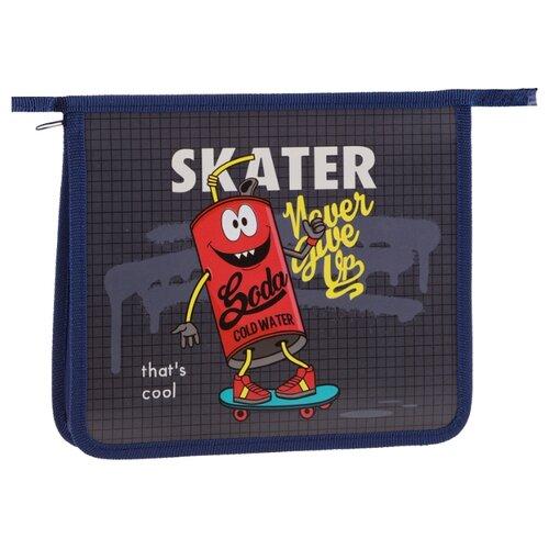 Купить ArtSpace Папка для тетрадей Skater, А5, на молнии, пластик серый/синий/красный, Файлы и папки