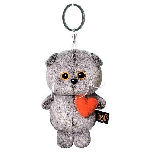 Купить Игрушка-брелок Basik&Co Кот Басик с сердечком 12 см, Мягкие игрушки