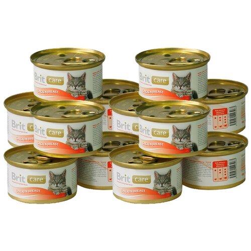 Фото - Влажный корм для кошек Brit Care, с курицей 12 шт. х 80 г (мини-филе) влажный корм для кошек brit care с курицей 2 шт х 80 г мини филе