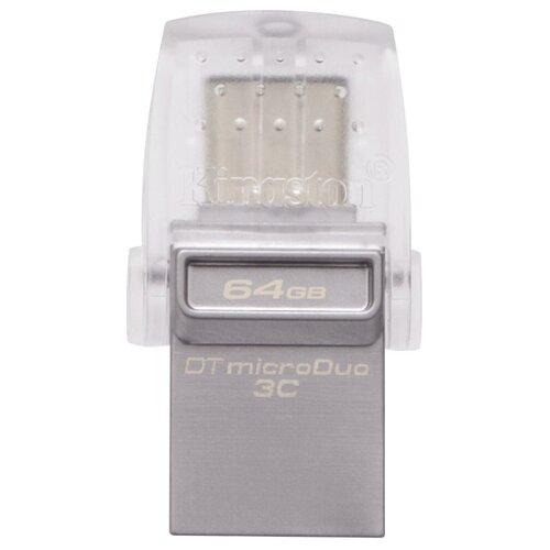 Фото - Флешка Kingston DataTraveler microDuo 3C 64 GB, серебристый флешка kingston datatraveler 106 64 gb черный красный