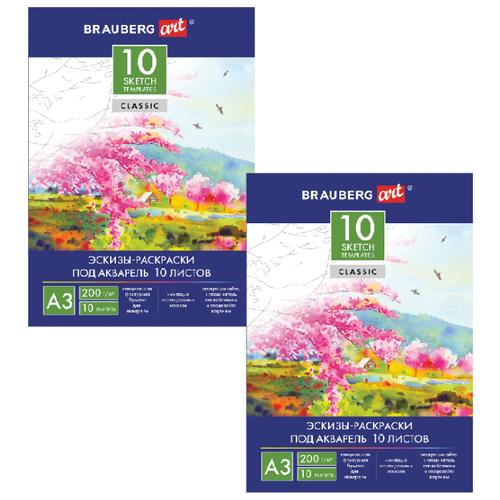 Фото - Папка для акварели BRAUBERG Art с эскизами 111065-2, 42 х 29.7 см (A3), 200 г/м², 10 л. (2шт.) папка для акварели brauberg скорлупа a3 10 листов