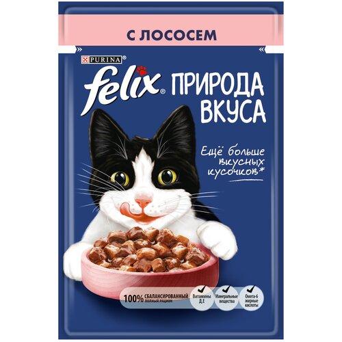 Влажный корм для взрослых кошек Felix Природа вкуса, с лососем 26 шт. х 85 г (кусочки в соусе)