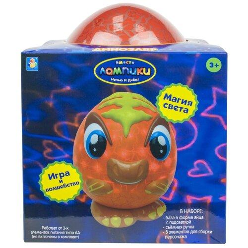 Фото - Ночник 1 TOY Лампики Динозавр Т16358 (коробка), цвет арматуры: оранжевый, цвет плафона: разноцветный ночник 1 toy лампики попугай т16360 коробка
