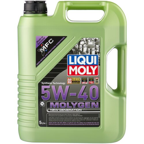 Фото - HC-синтетическое моторное масло LIQUI MOLY Molygen New Generation 5W-40, 5 л моторное масло liqui moly molygen new generation 10w 40 4 л