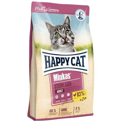 Сухой корм для стерилизованных кошек Happy Cat Minkas, с домашней птицей 500 г