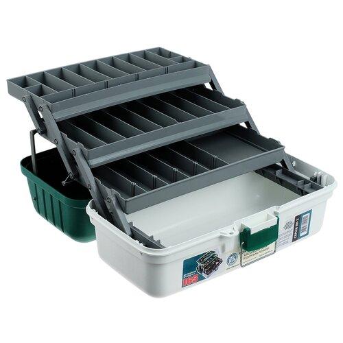 Ящик для рыбалки ТРИ КИТА ЯР-3 44х22х20 см белый/зеленый