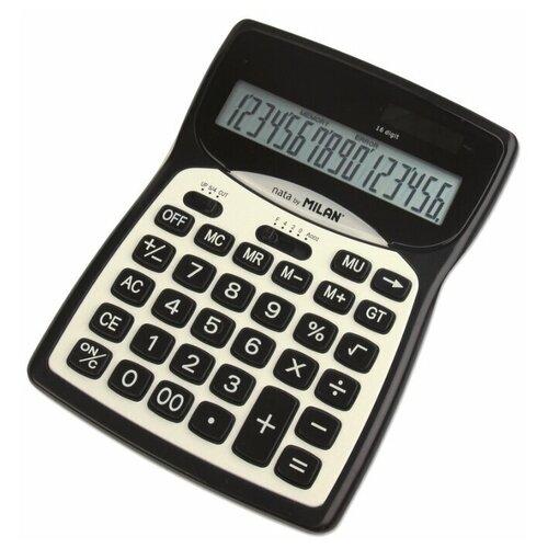 Калькулятор бухгалтерский MILAN 152016BL черный/белый