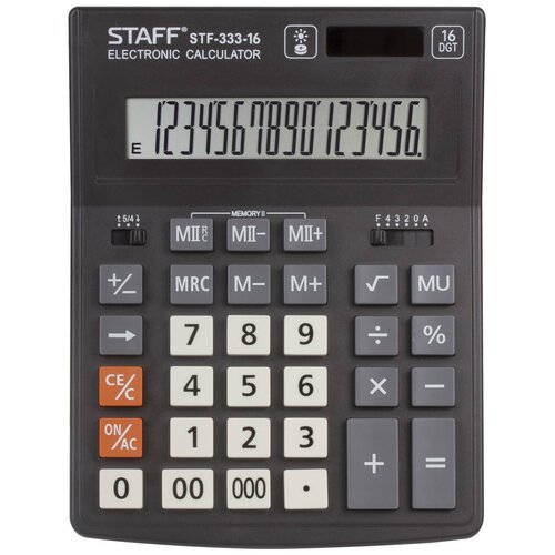 Калькулятор бухгалтерский STAFF STF-333-16 черный