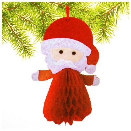 Набор для создания подвесной ёлочной игрушки из фетра и бумаги гофре «Дед Мороз»