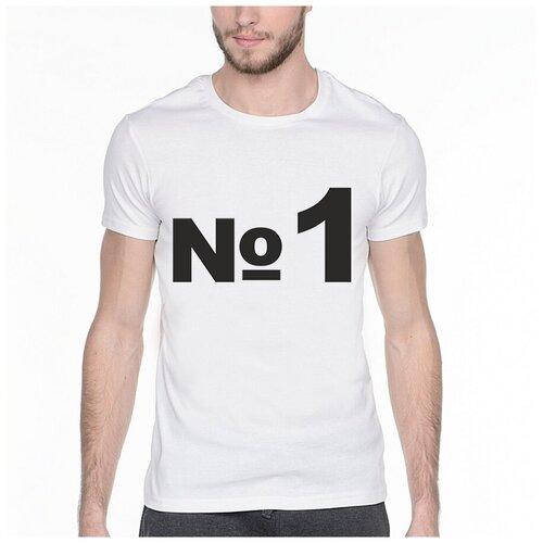 Фото - Футболка с надписью: №1. Цвет: белый. Размер: XS футболка laredoute с надписью i said oui wesley 0 xs белый