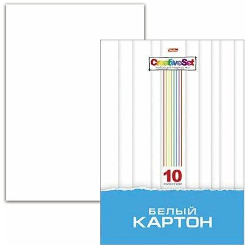 Картон белый А4 мелованный, 10 листов, в папке, HATBER, 205х295 мм, Creative Set, 10Кб4 05806, N049716