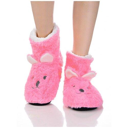 Плюшевые носки домашние Мишки с накладными ушками, противоскользящая подошва, внутренний подклад из искусственного меха, розовый цвет, размер 36-38