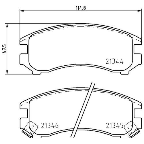 Дисковые тормозные колодки передние NISSHINBO NP2034 для Nissan, Suzuki (4 шт.)