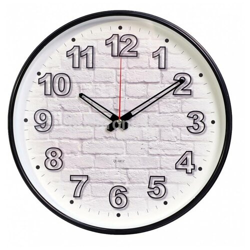 Часы настенные аналоговые Бюрократ WallC-R71P, диаметр 29 см, черный