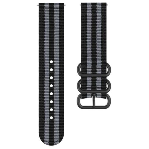 Фото - Cменный тканевый ремешок для умных смарт-часов Samsung Galaxy Watch3 Titan 45 mm/ Samsung Galaxy Watch 3 (45мм) SM-R840NZKACIS из ультра-прочного плотного качественного нейлона с металлической застежкой и красивым дизайном (черно-серый) ремешок samsung stitch leather band для galaxy watch3 45мм watch 46мм коричневый