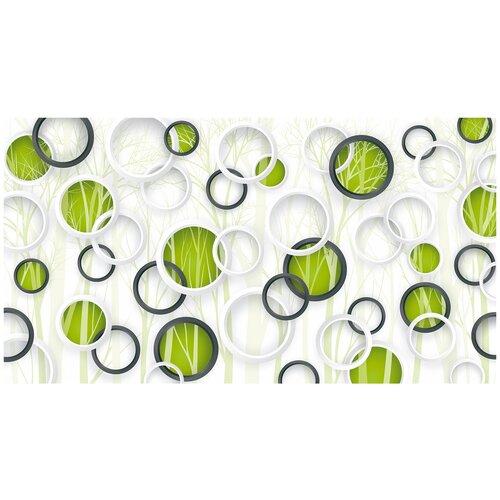 Фотообои Природа 3D белые и черные круги на бело-зеленом фоне деревьев/ Красивые уютные обои на стену в интерьер комнаты/ 3Д расширяющие пространство над кроватью или над столом/ На кухню в спальню детскую зал гостиную прихожую/ размер 500х270см/ Флизелиновые