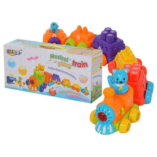 Купить Каталка-игрушка Zhorya Веселые вагончики (ZY150234/8740) со звуковыми эффектами оранжевый/красный/фиолетовый/желтый, Каталки и качалки