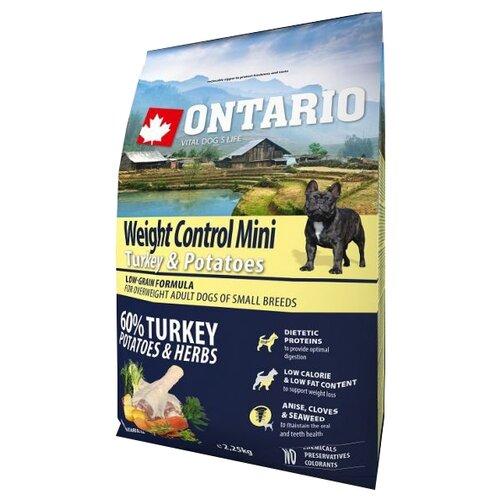 Корм для собак Ontario (2.25 кг) Weight Control Mini Turkey & Potatoes 2.25 кг (для мелких пород)