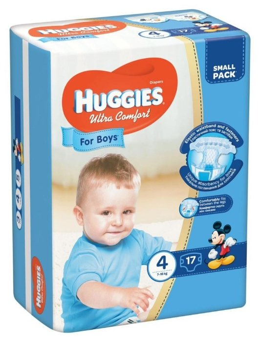Huggies подгузники Ultra Comfort для мальчиков 4 (7-16 кг) 17 шт.