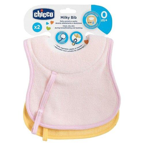 Chicco Комплект хлопковых нагрудников 0м+ (2 шт), 2 шт., расцветка: розовый/желтый