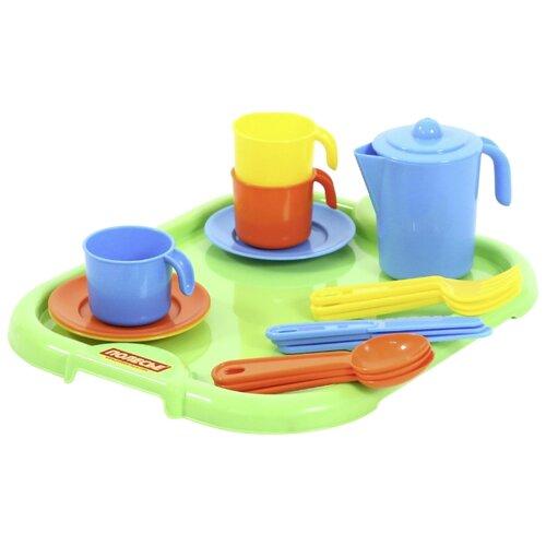 Купить Набор посуды Полесье Анюта с подносом на 3 персоны 3872 оранжевый/голубой/желтый, Игрушечная еда и посуда