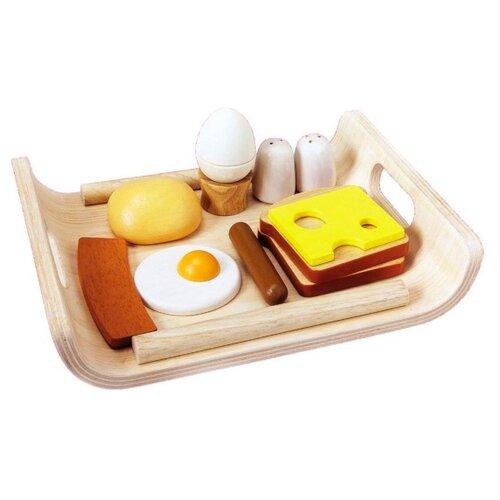 Купить Набор продуктов с посудой PlanToys 3415 коричневый/белый/бежевый, Игрушечная еда и посуда