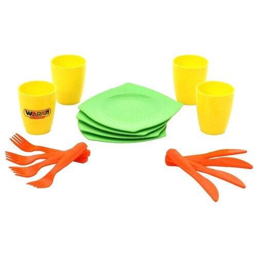 Набор посуды Полесье столовый на 4 персоны 40633 зеленый/желтый/оранжевый полесье набор игрушечной посуды алиса на 4 персоны 58980 цвет в ассортименте