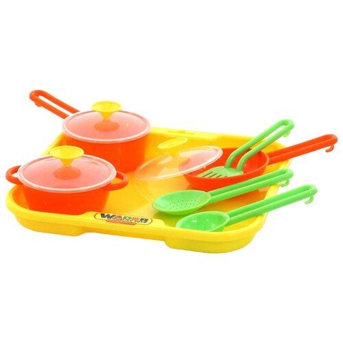Купить Набор посуды Полесье Поварёнок №1 с подносом 40732, Игрушечная еда и посуда