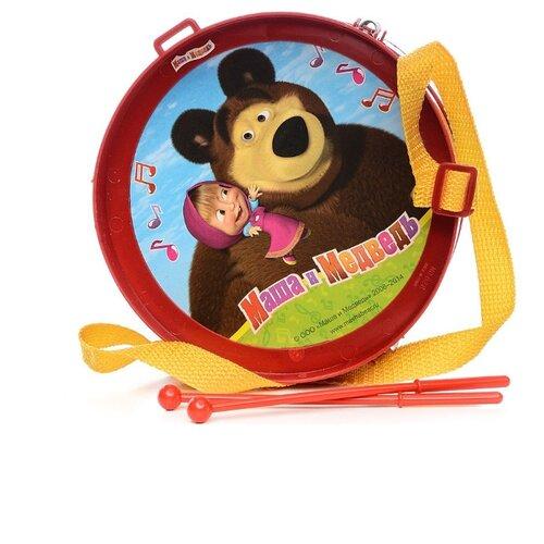 Купить Играем вместе барабан Маша и Медведь 628 красный, Детские музыкальные инструменты
