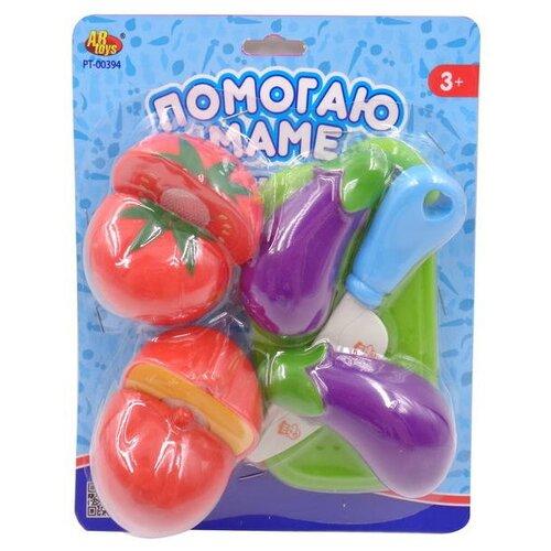 Купить Набор продуктов с посудой ABtoys Помогаю Маме PT-00394 фиолетовый/красный/зеленый, Игрушечная еда и посуда