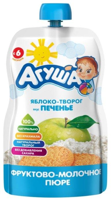 Пюре Агуша яблоко-творог вкус печенья (с 6 месяцев) 90 г, 1 шт.