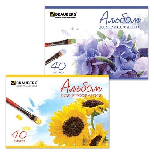 Альбом для рисования BRAUBERG Цветы в ассортименте 29.7 х 21 см (A4), 100 г/м², 40 л.